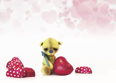 button does not like valentines (rockinmonique) Tags: button teddybear toy miniature heart chocolate valentinesday bokeh highkey 52in522019 moniquewphotography canon canont6s tamron tamron45mm copyright2019moniquewphotography
