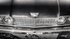 '60 Ford Starliner_hood_mono (dougkuony) Tags: 60 1960 coffeecruise ford hdr starliner auto automotive bw black blackwhite blackandwhite car cardetail hood mono nonochrome