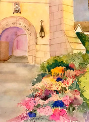 Going to church (BonnieBuchananKingry) Tags: watercolorwatercolor painting church garden floral flowers landscapearchitecture