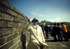 Chinese Old Man Saluting On The Great Wall, Beijing, China (Eric Lafforgue) Tags: mg9503 adultsonly ancient ancientcivilization architecture asia badaling beijing brick buildingexterior china chinese composition copyspace day famousplace fort fortifiedwall fortress frontview greatwall greatwallofchina groupofpeople historicallandmark history horizontal human internationallandmark length lookingatcamera man nationallandmark nonurbanscene outdoor pekin stone tourism touristattraction travel unescoworldheritagesite vertical wall windy worldheritage