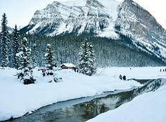 Cabin (Jane Olsen) Tags: cabin mountain trees water reflection creek winter landscape
