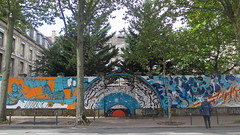 Street art in Paris 14th by Retro Graffitism, Hobz, Katre, Arnaud Liard and Zeky (Sokleine) Tags: mural streetart street wall mur exterior grandsvoisins artderue urbanart arturbain paris 75014 france