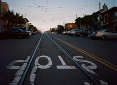 Sunset District // San Francisco (bior) Tags: red pentax645nii pentax645 pentax 645 mediumformat 120 sanfrancisco sunsetdistrict portra160nc expiredfilm kodakportra street stop road asphalt rails