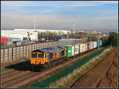 66748, Barby Nortoft (Jason 87030) Tags: gbrf shed class66 gm barbynortoft wcml freight cargo containers 4m23 hamshall felixstowe northants northamptonshire blue yellow orange dirft daventry crick warehouses boxes train transport frecht scene sky weather march 2019