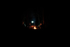 Into The Wild (Owen Keith) Tags: camping woods night sony a6500 30mm fire people light darkness kids new years eve 2018 campfire group trees depth low iso