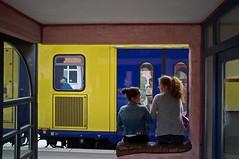 So Happy Together (RadarO´Reilly) Tags: freunde friends bahnhof railwaystation bahnsteig platform zug train spiegelung reflection