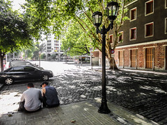 Buenos Aires (Nekrasoff Oskar) Tags: argentina buenosaires building street town san telmo morning mans trees lamp paving stone