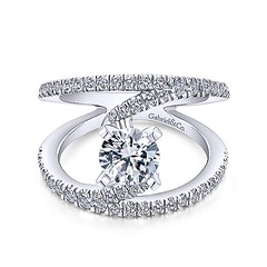 Original NOVA Renewal Design With Swinging Strands of Pave Diamonds in 14k White Gold Engagement Ring Setting (diamondanddesign) Tags: originalnovarenewaldesignwithswingingstrandsofpavediamondsin14kwhitegoldengagementringsetting er12416r4w44jj bridal rd engagement rings gbbr 65 068 ct gabriel ny diamond 14k white gold front