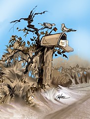 TWO BIRDS.(#3) (golfbag3) Tags: visualart illustrationipad rural letters mailbox two birds