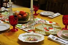 Table setting (qorp38) Tags: fork goblet runner candlestick fruit setting