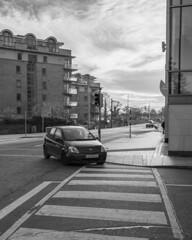 Crossing (Shaka1277) Tags: car dublin dundrum monochrome monochromatic stripes street streetphotography fuji fujifilm fujicron 23mm acros xt2