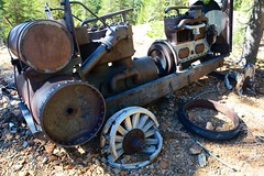 Portable Air Compressor - Mammoth Consolidated Mine (simbajak) Tags: mine mining caifornia mammoth equipment compressor rusty rust metal junk trees pine wood wooden wheels air ingersollrand trailer portable
