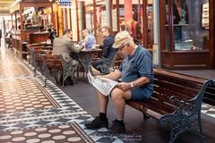 Adelaide Australia (Qicong Lin(Kenta)) Tags: man shoppingmall shoppingcentre people reading newspaper elders elderly streetshot streetphotography street australia adelaide