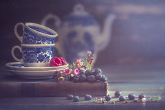 Blue-tiful (Ro Cafe) Tags: edge80 fruits lensbaby raspberries selectivefocus sonya7iii stilllife berries blueberries cups darkmood naturallight oldbook softlight teapot textured flowers waxflowers