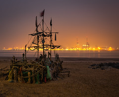Wonders Of The Mersey (Rob Pitt) Tags: the mersey river black pearl driftwood pirate ship liverpool2 container terminal newbrighton night wirral