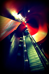 in the red (bostankorkulugu) Tags: alfaromeo museostoricoalfaromeo alfaromeomuseum museum walk man escalator red yellow stairs color colour milan milano italy italia lombardy lombardia rho