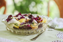 Crazy Tuesday#Food (Inka56) Tags: crazytuesdaytheme crazytuesday food salad tablewithfood tablecover fork homemadefood homemade vegetables vegetariansalad naturallight