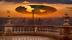 View from balcony (Iforce) Tags: balcony spaceship spacecraft city art digital design sun star wars landscape wallpaper science fiction awardtree ufo alien