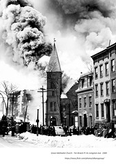 Fire that  destoryed Grace Methodist Church  Ten Broeck and Livingston  1949 (albany group archive) Tags: 1940s old albany ny vintage photos picture photo photograph history historic historical