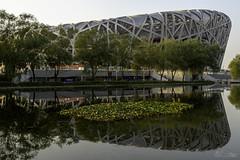 Birds Nest and Reflection 2008 Olympic Park Beijing China (Barbara Brundage) Tags: birds nest reflection 2008 olympic park beijing china