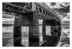 The Tay Railway Bridge (ianrwmccracken) Tags: rivertay railway reflection fife scotland monochrome steel cloud water bridge sky sony bw engineering dundee a6000