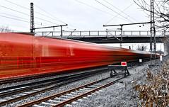 fullsizeoutput_1660 (h.herbig) Tags: blurred train red art zug bahn rails schienen lines linien bridge brücke longexposure nikond7500 speed contrast motion