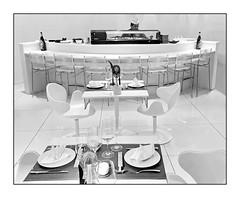 Sushi Master (heinzkren) Tags: monochrome samsung handy white bar restaurant furniture design möbel tabel indoor location candid schwarzweis blackandwhite man sushi furnishing frame rahmen tresen theke chairs seats highkey