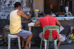Street food (Beegee49) Tags: street mens people eating food sitting happy planet luminar sony a6000 bacolod city philippines asia