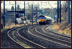 Morpeth Curves (Blaydon52C) Tags: morpeth ecml ews dbschenker dbs dbcargo class66 66169 6s95 tanks railway rail railways railfreight trains train transport locomotive locomotives signals signalbox eastcoast