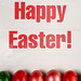 Colored Easter Eggs and Happy Easter text