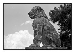 The lion of Amfipolis (gmadarakis) Tags: lion statue stone amfipolis macedonia greece fp4 ilfosol clouds ancient alexander