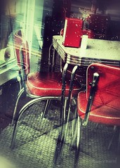 Please Seat Yourself (joannemariol) Tags: diner red retro iphoneography iphone7plus snapseed chairs