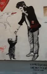 Jeu (Février 2019) (Ostrevents) Tags: paris 75 capitale france europe europa mur wall artdanslarue artdelarue streetart rue street art papierpeint paper papier paperpaint collage stiker homme man chat cat complicité complicity chn ostrevents