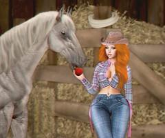 LOTD 146 (The Essence Of Fashion) Tags: genusproject letre maitreya truth blossom adorsy cosmopolitan illuzion fashiowlposes secondlife blog fashion pose backdrop 3d virtual country horse cowgirl