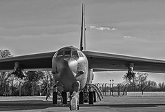 B-52H at RAF Fairford (B&W version) (baldychops) Tags: b52h b52 usaf raf fairford raffairford gloucestershire airfield usairforce bomber cockpit aircraft military militaryaircraft aviation outdoor bw blackwhite blackandwhite deployment visit visitor big huge buff bomb