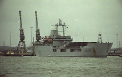 L3005 RFA Sir Galahad served in the Faulklands War.  Photo's by Alf Jefferies c1980 Southampton, Marchwood Military Port in the background. (Photos by Alf Jefferies) Tags: rfa sir galahad faulklands war ship southampton portsmouth photos by alf jefferies military