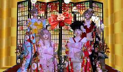 お正月写真その1 (Miyabi Harucus 1102) Tags: secondlife scene slavatar friend fashion kimono kawaii silveryk maitreya catwa