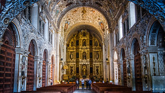 2018 - Mexico - Oaxaca - Church of Santo Domingo de Guzmán (Ted's photos - Returns late Feb) Tags: 2018 cropped mexico nikon nikond750 nikonfx oaxaca tedmcgrath tedsphotos tedsphotosmexico vignetting churchofsantodomingodeguzmán oaxacachurchofsantodomingodeguzmán churchofsantodomingodeguzmánoaxaca templodesantodomingo goldleaf church churchinterior pews seating seats arches unesco unescoworldheritagesite