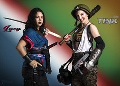 Sucker Punched 4 - Lucy and Tink (FightGuy Photography) Tags: suckerpunched sp4 suckerpunched4 warriorwomen badassandbeautiful armor guns tanktop helmet sword katana blade actionhero