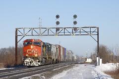 CN 377 (Michael Berry Railfan) Tags: cn377 cn2618 csxt460 cn canadiannational coteau quebec train freighttrain winter snow ge generalelectric dash9 dash944cw csx csxt ac4400cw