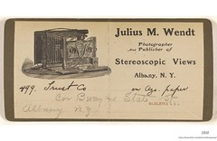 1910   Julius M. Wendt  Business card.  stereoscopic views. (albany group archive) Tags: early 1900s photographer old albany ny vintage photos picture photo photograph history historic historical