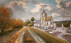 White rock (Jean-Michel Priaux) Tags: paysage landscape church way path abbey paint painting france priaux village