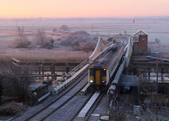 Broads (Treflyn) Tags: greater anglia class 156 super sprinter 156419 reedham swing bridge sun rise sunrise light frozen norfolk broads lowestoft norwich service dmu