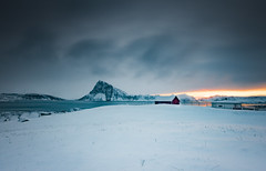 Hope on the horizon (Lukasz Lukomski) Tags: storsandnes lofoten norway norge landscape winter snow mountains sea archipelago sunrise clouds nikond7200 sigma1020 lukaszlukomski