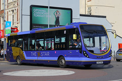 SK63 KHW, Commercial Road, Portsmouth, September 7th 2016 (Southsea_Matt) Tags: sk63khw 63045 commercialroad thestar firsthampshire wright streetlite portsmouth hampshire september 2015 autumn canon 60d 1850mm omnibus bus passenger travel public transport vehicle