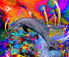 Dolphin Color Splash (ICARUSISMARTDESIGNS) Tags: dolphin trendy retro vintage color art patterns abstract fantasy animal digitalpainting red blue ocean water fins travel sea digital magic universe stars cool nature swimming contemporary inspirational love psychedelic geek