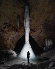 Songhellir (creyala) Tags: waterfall icefall iceland cave silhouette nature wildlife thorsmork hidden landscape night light fun person human