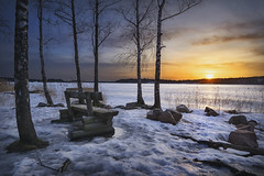 Waiting (petterikari) Tags: bench sunset trees ice winter shore sea clouds espoo