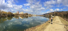 one nice day (majka44) Tags: košice slovakia nature people 2019 lake water reflection mirror blue sky cloud nice day forest tree building architecture light colors child view panorama city