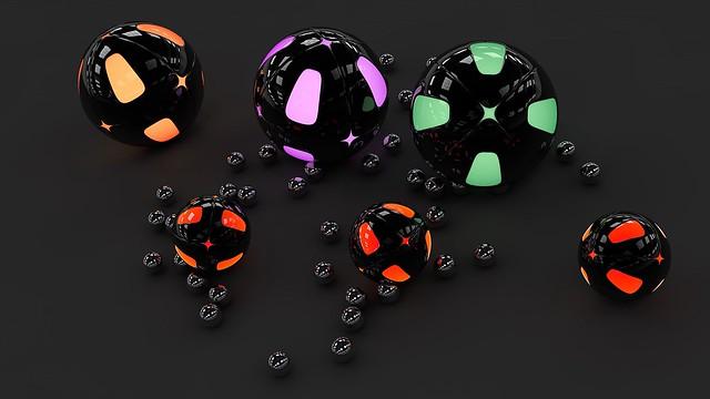 Обои сферы, шары, поверхность, подсветка, серый фон, неон картинки на рабочий стол, фото скачать бесплатно